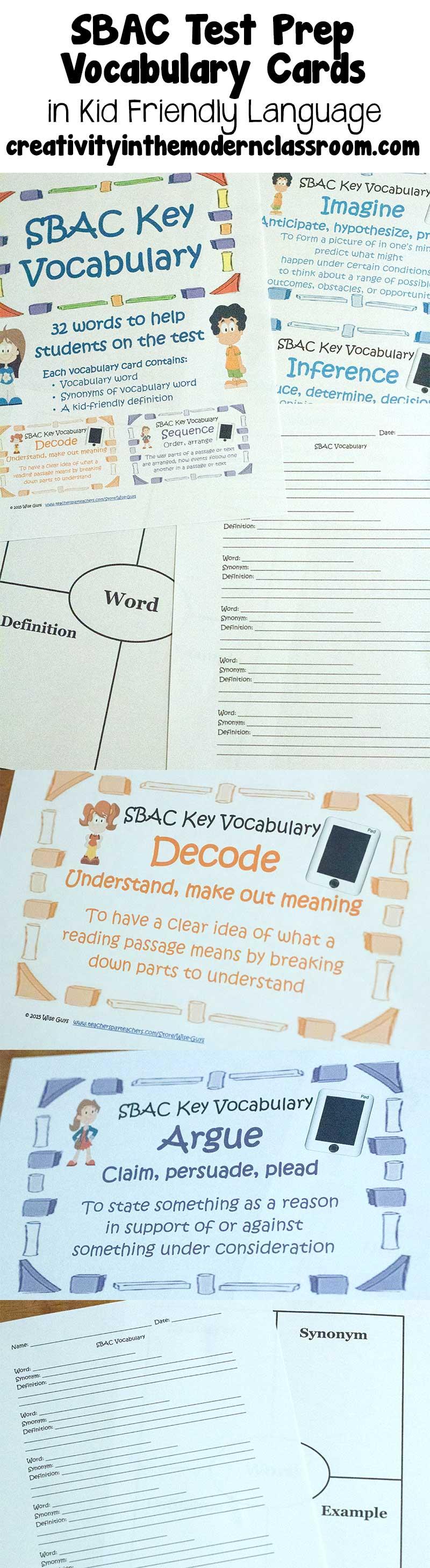 sbac vocabulary cards  kid friendly language